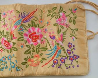 Vintage Silk Embroidered Fold Out Clutch Purse Asian Design Mid Century Four Pocket Floral Decor Handbag