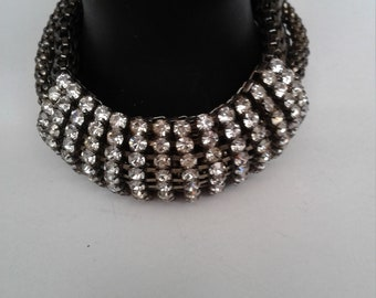 Vintage Multi-Chain Bracelet with 14 Rows of Rhinestones