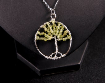 """Peridot Tree of life necklace - """"August Splendour"""" handmade silver wire wrapped pendant"""