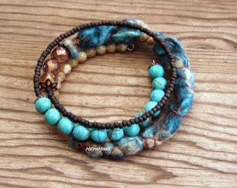 Memory wire boho colorful jewelry felt textile bracelet artisan teal brown mineral stone boho gypsy festival gift for her