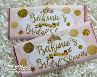 Bridal Shower-Princess Birthday Candy Bar Wrappers-Chocolate Bar Favors - Blush Pink, Glitter Gold-Baby Shower, Sweet 16, 40-50-60 Birthday