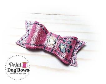 Pink Dog Bow, Dog Hair Bow with Rhinestone Dog Paw, Pink Glitter Show Dog Bow, Silver Dog Paw, Dog Hair Accessory