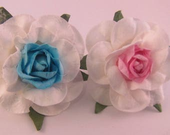 Large Flower Rose Lapel Pin - Pink or Blue - Baby Shower / Gender Reveal Party