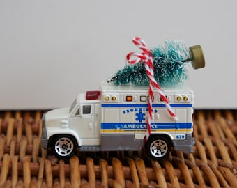 Altered Matchbox Ambulance Toy Collectible Car With Christmas Tree, Christmas, Ornament, Hospital, Get Well, Dad, Brother, Son, Husband,Wife