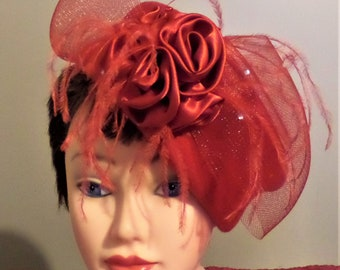 1960's Vintage Red Pillbox Hat.  Wool.  Large Bow with red silk and feathers.  Beautiful Church Hat.  Red Hat Society.