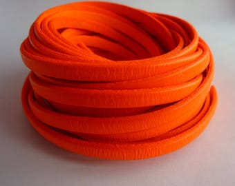 Leather Strip 5 mm orange neon, 20 cm