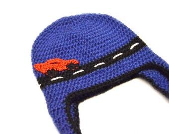Crochet Car Hat, Race Car Hat, Car Hat, Race Car Beanie, Car Beanie, Cars, Boy Hat, Baby Boy Hat