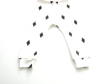 Organic Baby leggins, Baby Pants, White, Black Diamonds, Certified Organic, Baby Shower Gift,