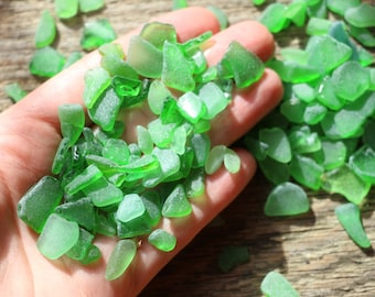 Extra small Sea Glass green seaglass little Sea glass crafting Bulk sea glass scraps Tumbled Sea glass supplies peices sea glass green