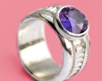 Purple Amethyst stone, unique modern design, sterling silver