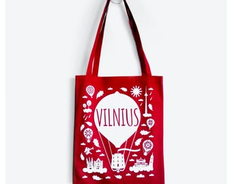Vilnius Red Tote Bag - Lithuania, Red White Print, Shopping Bag, Lithuanian, Christmas Gift Idea, Gifts for Women, Red Bag, Gifts For Her