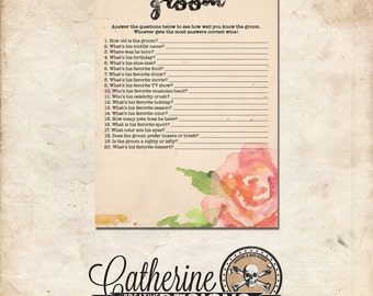 Bridal Shower How Well Do You Know the Groom? | Rustic Floral Printable Bridal Shower Game | Groom Game | Who Knows the Groom Best 0002