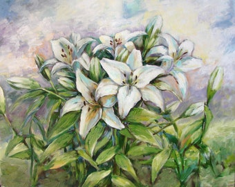 "Author's painting "" Bouquet of White Lilies "", Original Artwork, Original Oil Painting on canvas, Workmanship Art, Contemporary Painting"