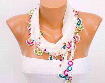 Turkish oya scarf lace scarf summer scarf necklace scarf ,İvory