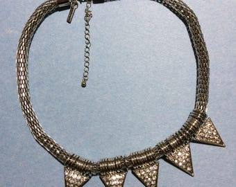 """18"""" Cookie Lee Silvertone Metal Rhinestone Upside Down Triangles Thick Snake Chain Adjustable Necklace"""