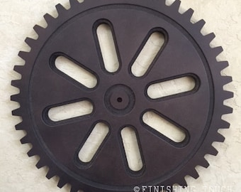 Large Industrial Style- Style 3- Wood Gear Steampunk Sprocket Mechanical Decor Wall hanging Vintage Rustic Wheel Panel Factory Molds
