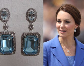 Kate Middleton Duchess of Cambridge Inspired Replikate Blue Topaz Silver Drop Crystal Earrings