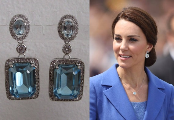 Kate Middleton Duchess Of Cambridge Inspired Replikate Blue Topaz Silver Drop Crystal Earrings by Etsy