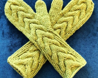 Wool-blend Horseshoe Cable Mittens