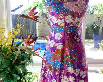 1960's Liberty Circle Mod Groovy Pink Floral Dress