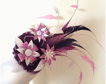 Purple Berry Feather Playing Card Flower Fascinator Headpiece