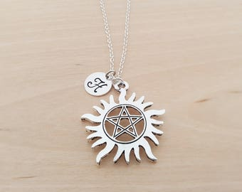 Chakra Necklace - Sun Necklace - Personalized Necklace - Custom Initial - Silver Necklace- Gift For Him/ Her