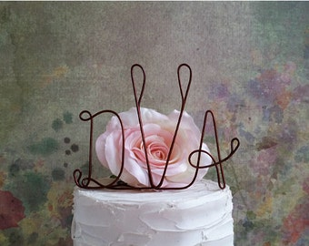 Monogram Wedding Cake Topper, Rustic Wedding Cake Topper, Wedding Centerpiece, Bridal Shower Decoration, Engagement Party Cake Decorating