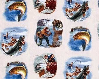"Fishing Fabric: Sports Afield Fishing Scenic by Elizabeth's Studio 100% cotton fabric by the yard 36""x44"" (ES164)"