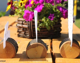 Tree-Chunk Card Holders Rustic Wedding Place Setting Reserved Seating Table Number Menu Stand