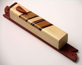 Judaica - Beautiful inlaid wooden mezuzah case