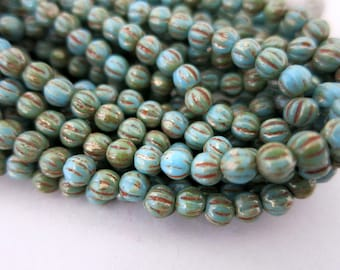 4mm Turquoise Picasso Czech Glass, Melon Beads, Full Strand 50 Beads, Ready To Ship