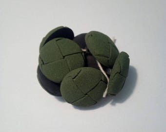 Set of 4 green leather round buttons style suede 25mm diam.