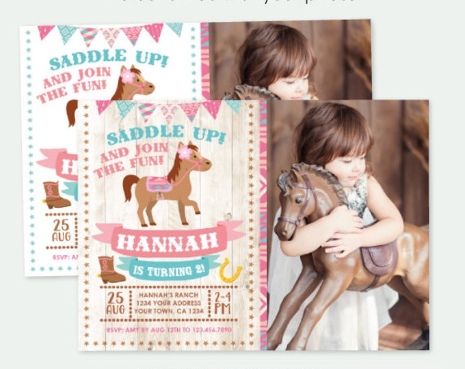 Pony Birthday Invitation with Photo, Cowgirl Birthday Invitation, Horse Birthday Party, Personalized DIGITAL Invitations, 2 Options