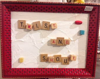 Children's wall plaque, Scrabble tile art, Twist & Shout, vintage frame, child,s wall hanging, wall decor
