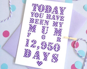 Days You've Been My Mummy Card – Personalised Mother's Day Card – Card for Mum –birthday card for mummy/mum –Christmas card for mother mummy
