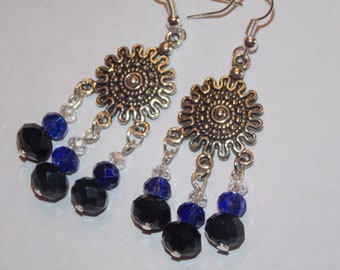 Black and AB Purple Czech Glass Tibetan Silver Chandelier Earrings