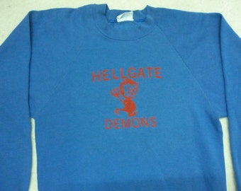 Vintage HELLGATE DEMONS Big Logo Spellout Funny Blue Sweatshirts Made In Usa Poly Cotton