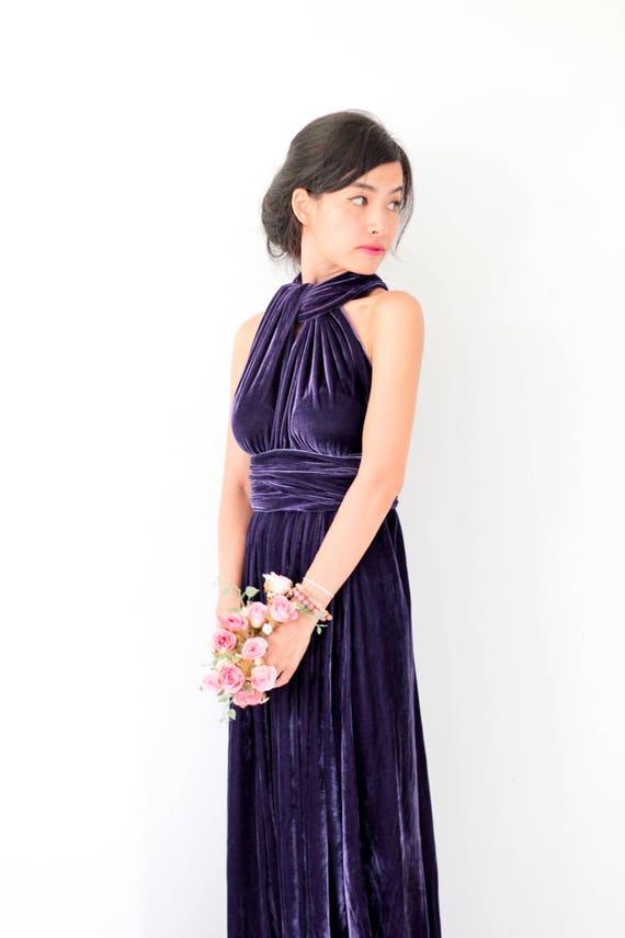 Dunkel lila samt Kleid Brautjungfernkleid Infinity Kleid