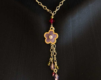Gold Chain Necklace with Fringe Pendant of Swarovski Crystals Drops and Beads, Lavender Purple Daisy Charm, Ruby Red and Peridot Green S136