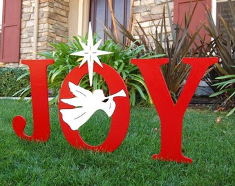 JOY With Christmas Angel Outdoor Holiday Yard Art Sign