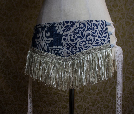 Antique White And Blue Hip Belt - with Cream Fringe