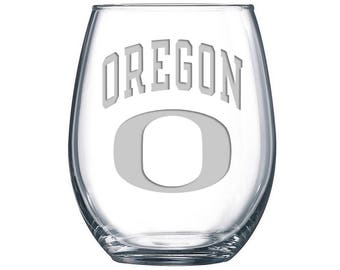 Oregon Ducks Sandblasted Stemless Wine Glass