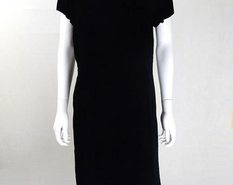 Original Vintage 1950s Black Velvet Dress UK Size 12/14
