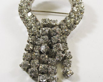 Vintage - Collectible - Rhinestone Drop Pin - Jewelry - Silver - Rhinestones - Clear - Sparkling - Pin - Brooch - Flawless - Women's - Gift