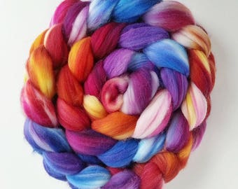 "Hand Dyed Eco Sock Blend Roving--4 oz Organic Merino/Nylon Hand Dyed Combed Top, ""Gazing at the Heavens"""