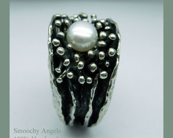 Sea Anenome - Sterling Silver and Pearl Ring