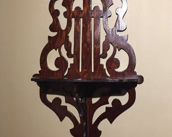 Vintage Carved Curio Shelf / Carved Wooden Wall Shelf / Single Curio Carved Shelf / Victorian Wall Decor/ Vintage Wall Shelf Display