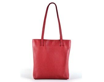 Dark red Leather tote bag, red leather tote bag, womens red tote bag, red leather bag, shoulder bag, red leather handbag, red small tote bag