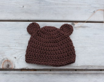 Handmade newborn crochet baby bear hat