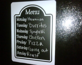 ON SALE......Chalkboard vinyl Menu with magnetic backing...normal price 17.99 ...sale price 14.99